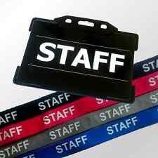 Pre-Printed STAFF ID Card with Rigid Holder & Lanyard Set - Blue