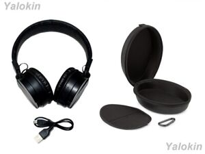 Collapsible Wireless Headphones with Mic and Zipper Leather Travel Case (CSMS)
