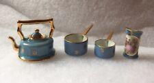 Limoges France Blue Gold Miniature Doll House 4 Pc Lot:Teapot, Pitcher, 2 Pots