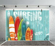 SURFING Sign Blue Wood Photography Backdrop 10x6.5ft Background Photo Prop Show