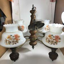 Vintage Chandelier 4 Arm Wooden Brass Milk Glass Floral Shades Country Cabin