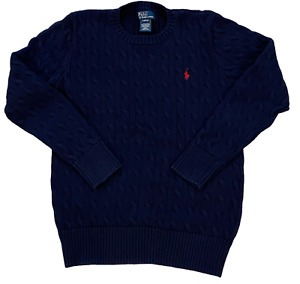 Polo Ralph Lauren Boys Youth Kids Cable Sweater Size Late 14-16 Navy Blue