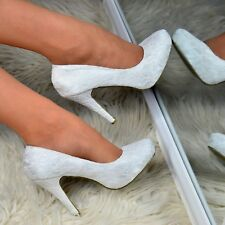 Ladies Ivory Wedding High Heels French Lace Bridal Satin Shoes Closed Pumps Size