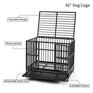 "42"" Dog Crate Heavy Duty Steel Dog Cage Black Strong Metal Pet Wheels Removeable"