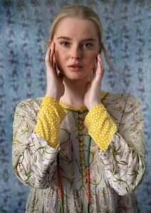 BNWT *Gudrun Sjoden* enchanting Tara snowdrop print embroidered dress XL