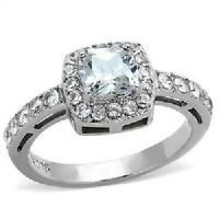 1899 WOMENS ENGAGEMENT CUSHION SIMULATED DIAMOND RING PRETTY STAINLESS STEEL
