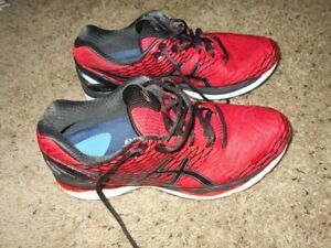 ASICS Men's Gel Nimbus 18 Red Athletic Shoes Size 9.5 With Powerstep Inserts