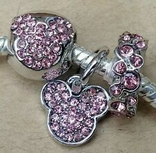 Disney Pink Crystal MICKEY CZ MOUSE Head Rhinestone Icon European Bead Charm Set