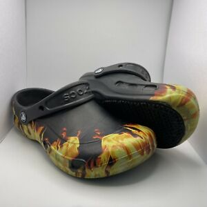 Crocs Bistro Graphic Flames On Fire Clog Mens Size 5 Women's 7 Used