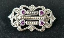 "Art Deco Pin Crown Chakra~1.75"" Sterling Silver Amethyst Brooch Marcasite Heart"