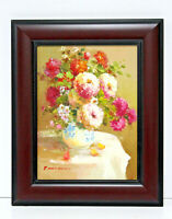 Roses Floral Still Life 12 x 16 Oil Painting on Canvas w/Custom Wooden Frame