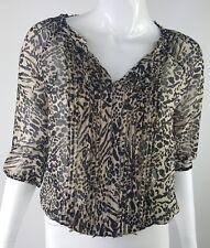 Express  XS Black Tan Animal Leopard Print 3/4 Sleeve Sheer Blouse Elastic Hem