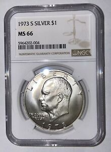 1973 S $1 Silver Ike Eisenhower Dollar NGC MS 66 Bright White!