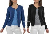 Women's Ladies Long Sleeve Crew Neck Cardigans Sweater Knitwear Sizes UK 6 - 20