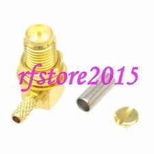 1pce Connector RP-SMA female plug right angle crimp RG316 RG174 LMR100 COAXIAL