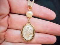 "Vintage Gold Tone ""1928 Jewelry"" Cameo Pendant/Necklace"