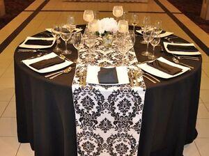 10 Black White Flocked Taffeta Damask Table Top Runners Wedding Tablerunners