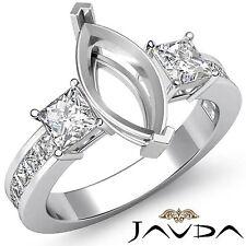 Three 3 Stone Diamond Wedding Ring Platinum Princess Marquise Semi Mount 1.1Ct
