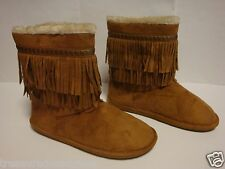 Candie's Fringed Midcalf Faux Fur Boots ~ Size 8.5 ~ Tan