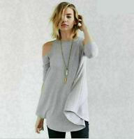 Fashion Women Long Sleeve T-Shirt Off Shoulder Casual Loose Shirt Blouse Tops
