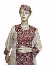 Om Vintage Indian Pakistani Art Silk Hand Embroidered Beige Kurta Size-L K28