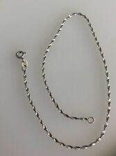 """Italy Twisted Rope Chain Ankle Bracelet Anklet Real 10K ALL White Gold 10"""""""