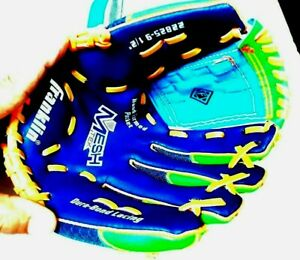 Franklin 22825 ball glove 9 1/2 inch green and blue youth pre-owned excellent