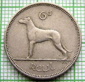 IRELAND 1960 6 PINGIN PENCE SIXPENCE, IRISH WOLFHOUND DOG