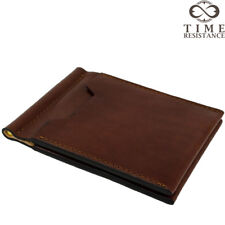 MONEY CLIP WALLET BUSINESS CREDIT CARD CASE BROWN ITALIAN LEATHER HANDMADE NEW