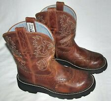 "Ariat Fatbaby Brown Leather Saddle Roper Short 8"" Cowboy Boots Womens Size 6 B"