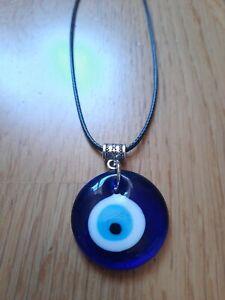 Evil eye greek pendant necklace gift mandala yoga reiki protection leather black
