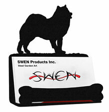 SWEN Products SAMOYED Dog Black Metal Business Card Holder