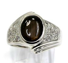 Mens diamond black star sapphire ring 14K white gold round oval 4.50CT 11.8 gram