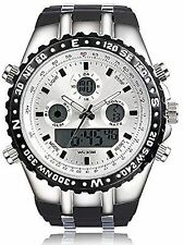 NEW Readeel M1272L Men's Military Ana-Digi White Dial Black Silicone Sport Watch