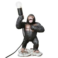 "Big Gorilla Table Lamp - Sculpted Ape Figurine Holding Light, 16"" Accent Lamp"