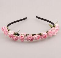 1PCS Pink Flower Headband Wedding Garland  Hairband Girl Women Accessories