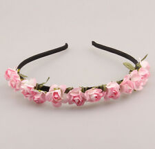 1PCS Pink Flower Headband Wedding Garland  Hairband Girl Women Accessories