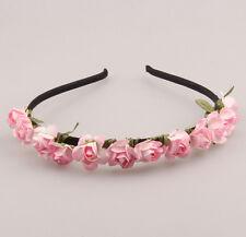 New  Pink Flower Headband Wedding Garland  Hairband Girl Women Accessories