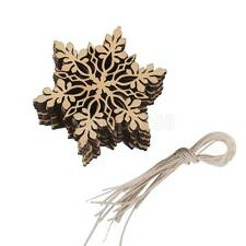 10x Natural Wood Laser Cut Gift Tag Christmas Tree Ornaments Leaf Snowflake