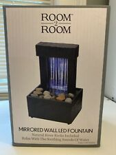 Mirrored Wall LED Fountain with Pebbles Room 2 Room Home,Office,  Decor- NIB