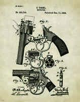 Colt Revolver Patent Print  Antique Pistol Gun Collector Office Artwork Gift