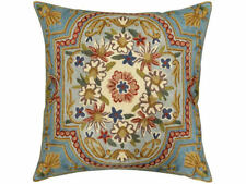 "Floral Garden Turquoise Ivory Pillow Cover Hand Embroidered 18"" x 18"""