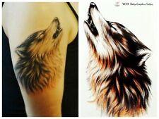 New  Einmal-Tattoo Temporary Body Art Wasserdicht  Wolf 10cm x 17cm  Neu