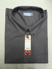 gris oscuro Polialgodón Largo / Manga Camisa Oxford Grande 41.9cm Cuello