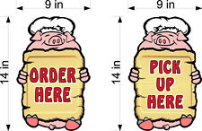 """14"""" Tall Vinyl Decals Pick Up & Order Here Bbq Chef Pig Vinyl Decal Counter Wall"""