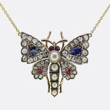 Victorian Rose Cut Diamond Sapphire Pearl and Ruby Butterfly Necklace 18ct Gold
