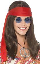MUJER AÑOS 70 AÑOS 60 Hippy diadema Gafas Collar Peluca Para Disfraz Kit
