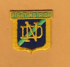 VINTAGE 1970's NOTRE DAME IRISH CREST IRON ON PATCH POLO SHIRT BAGS BABY ITEMS