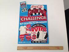 Vintage Coca Cola Cardboard Advertising Sign Grand Prix Challenge