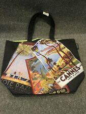 Lancome Black Canvas Tote Bag Paris Cannes Cote de Azur